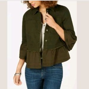 Style & Co Bell Sleeve Womens Jacket Evening Olive
